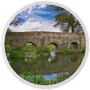 Medieval Bridge Round Beach Towel by Scott Carruthers
