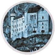 Medieval Castle In The Pilgrimage Town Of Rocamadour Round Beach Towel