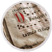Medieval Choir Book Round Beach Towel by Carlos Caetano