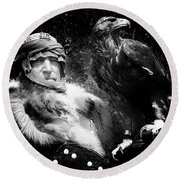 Round Beach Towel featuring the photograph Medieval Fair Barbarian And Golden Eagle by Bob Christopher