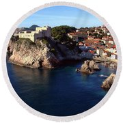 Medieval Fortresses Lovrijenac And Bokar Dubrovnik Round Beach Towel