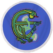 Medieval Frog Letter E Round Beach Towel by Donna Huntriss