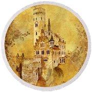 Medieval Golden Castle Round Beach Towel