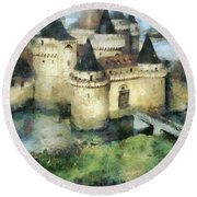 Medieval Knight's Castle Round Beach Towel