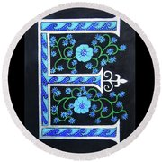 Medieval Letter E Round Beach Towel
