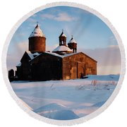 Medieval Saghmosavank Monastery Covered By Snow At Sunset, Armenia Round Beach Towel