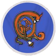 Round Beach Towel featuring the digital art Medieval Squirrel Blue A by Donna Huntriss