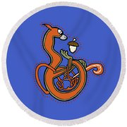 Medieval Squirrel Blue Letter B Round Beach Towel by Donna Huntriss