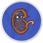 Round Beach Towel featuring the digital art Medieval Squirrel Letter C Blue by Donna Huntriss
