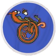 Round Beach Towel featuring the digital art Medieval Squirrel Letter D Blue by Donna Huntriss