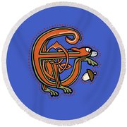 Round Beach Towel featuring the digital art Medieval Squirrel Letter E by Donna Huntriss