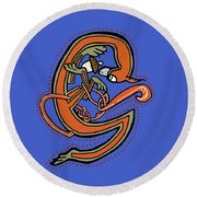 Round Beach Towel featuring the digital art Medieval Squirrel Letter G by Donna Huntriss