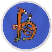 Round Beach Towel featuring the digital art Medieval Squirrel Letter H by Donna Huntriss