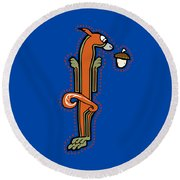 Medieval Squirrel Letter I Round Beach Towel