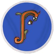 Round Beach Towel featuring the digital art Medieval Squirrel Letter J by Donna Huntriss