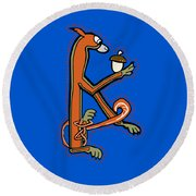 Round Beach Towel featuring the digital art Medieval Squirrel Letter K by Donna Huntriss