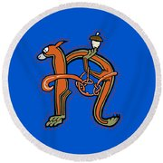 Round Beach Towel featuring the digital art Medieval Squirrel Letter N by Donna Huntriss