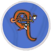 Round Beach Towel featuring the digital art Medieval Squirrel Letter Q by Donna Huntriss