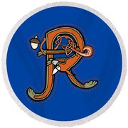 Round Beach Towel featuring the digital art Medieval Squirrel Letter R by Donna Huntriss