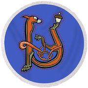 Round Beach Towel featuring the digital art Medieval Squirrel Letter U by Donna Huntriss