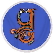 Round Beach Towel featuring the digital art Medieval Squirrel Letter Y by Donna Huntriss