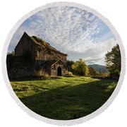 Medieval Tezharuyk Monastery During Amazing Sunrise, Armenia Round Beach Towel