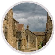 Medieval Village In France Round Beach Towel