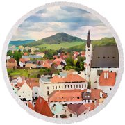 Medieval Village  Round Beach Towel
