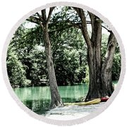 Round Beach Towel featuring the photograph Medina River Landscape View by Ella Kaye Dickey