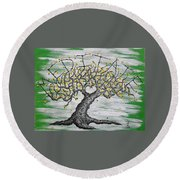 Round Beach Towel featuring the drawing Meditate Love Tree by Aaron Bombalicki