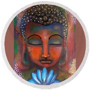 Meditating Buddha With A Blue Lotus Round Beach Towel