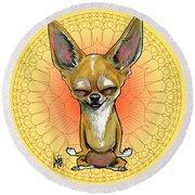Meditating Chihuahua Round Beach Towel