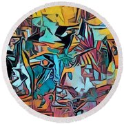 Meditating On And Contemplating Abstract Art Creates A Space Of Pure Perception Where Hope And Fear  Round Beach Towel