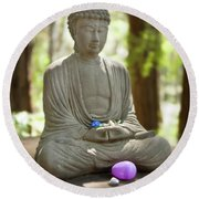 Round Beach Towel featuring the photograph Meditation Buddha With Offerings by Carol Lynn Coronios