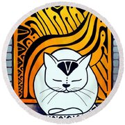 Meditation - Cat Art By Dora Hathazi Mendes Round Beach Towel by Dora Hathazi Mendes