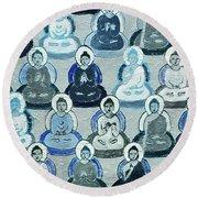 Meditation In Blue Round Beach Towel