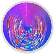 Round Beach Towel featuring the photograph Meditation In Blue by Nareeta Martin