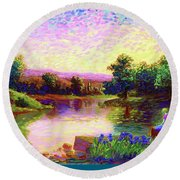 Round Beach Towel featuring the painting  Meditation, Just Be by Jane Small