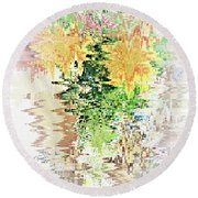 Meditation Pond Round Beach Towel by Ann Johndro-Collins