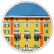 Mediterranean Colours On Building Facade Round Beach Towel