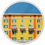 Mediterranean Colours On Building Facade Round Beach Towel
