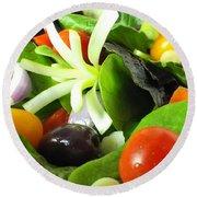 Mediterranean Salad Round Beach Towel
