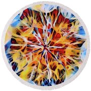 Round Beach Towel featuring the digital art Medow Dandelion by Adam Olsen