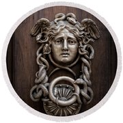 Medusa Head Door Knocker Round Beach Towel by Edward Fielding