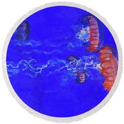 Round Beach Towel featuring the digital art Medusas Jellyfishes by PixBreak Art