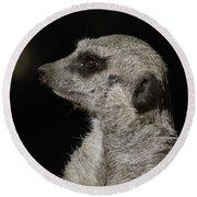Meerkat Profile Round Beach Towel