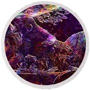 Round Beach Towel featuring the digital art Meerkat Zoo Lazy Nature Animal  by PixBreak Art