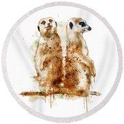 Meerkats Round Beach Towel by Marian Voicu