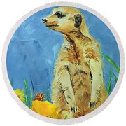 Round Beach Towel featuring the painting Meerly Curious by Tom Riggs