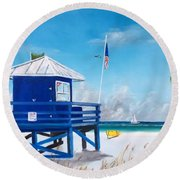 Meet At Blue Lifeguard Round Beach Towel
